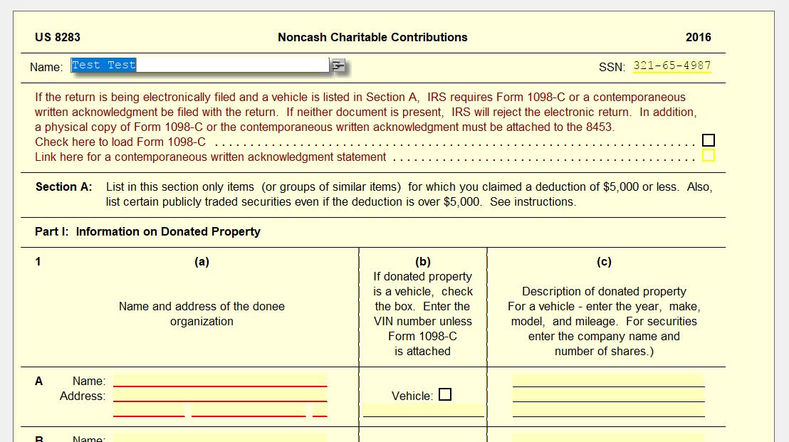 E Filing Form 1098 C Ultimatetax Solution Center