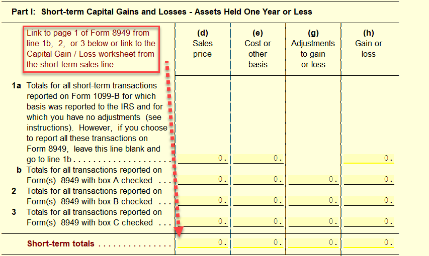 Using Capital Gains Worksheet with 8949 and Sch D